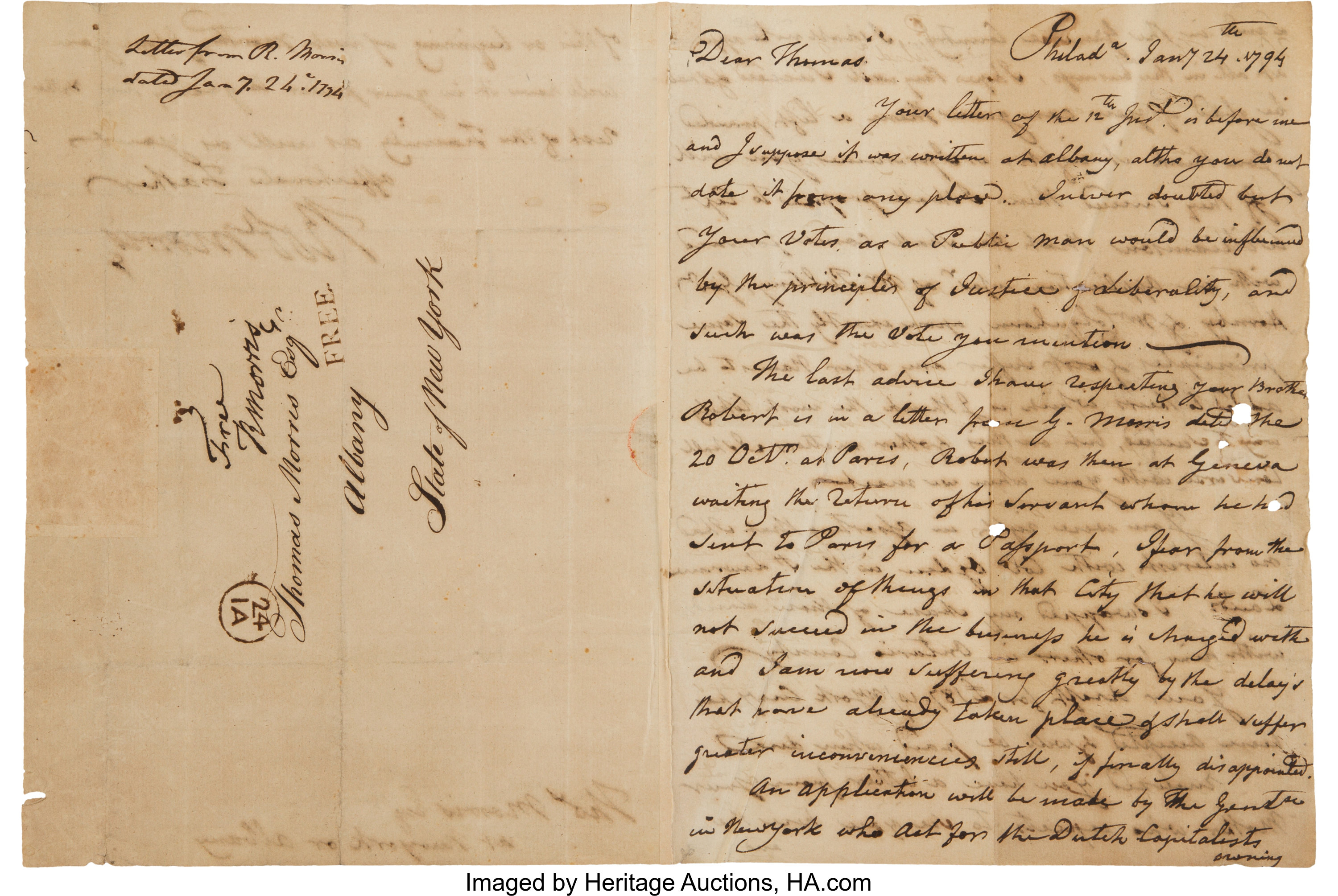Robert Morris Autograph Letter Signed With a Second Franking