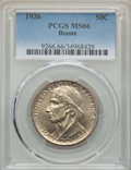 Commemorative Silver, 1936 50C Boone PDS Set PCGS. This set will include the following: 1936 MS66; 1936-D MS65; and a 1936-S MS65. ... (Total: 3 coins)