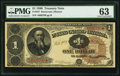 Large Size:Treasury Notes, Fr. 347 $1 1890 Treasury Note PMG Choice Uncirculated 63.. ...