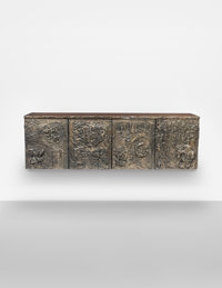 Paul Evans (American, 1931-1987) Custom Sculpted Bronze Wall-Mounted Cabinet, circa 1972, Paul Evans St