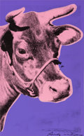 Fine Art - Work on Paper:Print, Andy Warhol (1928-1987). Cow, 1976. Screenprint in colors onwallpaper, with trimmed margins. 45-1/8 x 29-1/2 inches (11...