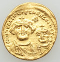 Ancients:Byzantine, Ancients: Heraclius (AD 610-641), with Heraclius Constantine. AVsolidus (4.49 gm). XF, edge bent....