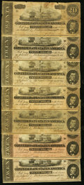 Confederate Notes:1864 Issues, T67 $20 1864 Fifteen Examples.. ... (Total: 15 notes)