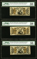Fractional Currency:Third Issue, Fr. 1328 50¢ Third Issue Spinner Three Examples PMG Choice About Unc 58 EPQ, Choice About Unc 58 Net and About Uncirculated 55... (Total: 3 notes)