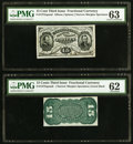 Fractional Currency:Third Issue, Fr-1275SP/Fr. 1272SP 15¢ Narrow Margin Pair PMG Choice Uncirculated 63/Uncirculated 62.. ... (Total: 2 notes)