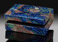 Lapidary Art:Boxes, Azurite Box. Stone Source: Bisbee, Warren District. MuleMts, Cochise Co.. Arizona, USA. ...