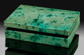 Lapidary Art:Boxes, Chrysocolla Box. Stone Source: Bisbee, Warren District. Mule Mts, Cochise Co.. Arizona, USA. ...