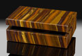 Lapidary Art:Boxes, Tiger's-Eye Box. Stone Source: Mt. Brockman Station.Pilbara. Western Australia. ...
