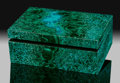 Lapidary Art:Boxes, Chrysocolla & Malachite Box. Stone Source: Democratic Republic of Congo (Zaïre). ...