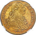 Colombia, Colombia: Ferdinand VII gold 8 Escudos 1817 NR-JF AU55 NGC,...