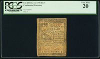 Continental Currency February 17, 1776 $1/3 PCGS Very Fine 20