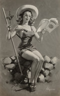 Photographs, Gil Elvgren (American, 1914-1980). Is This Worth Cultivating emphemera group. Photograph (1), Print (1). 22 x 11.5 in. (...