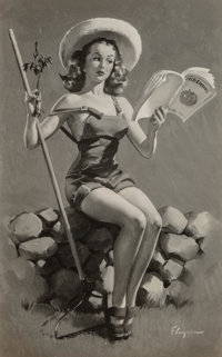 Gil Elvgren (American, 1914-1980) Is This Worth Cultivating emphemera group Photograph (1), Print (1