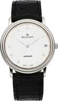 Timepieces:Wristwatch, Blancpain Villeret Platinum Automatic With Date. ...