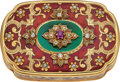 Timepieces:Other , French Very Fine Gold, Enamel, Diamond & Ruby Tabatiere, circa 1850. ...