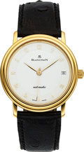 Timepieces:Wristwatch, Blancpain 18k Gold Automatic Villeret With Date. ...