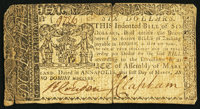 Maryland March 1, 1770 $6 Very Good