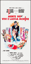 "Movie Posters:James Bond, Live and Let Die (United Artists, R-1970s). Italian Locandina (13.25"" X 27.5"") Robert McGinnis Artwork. James Bond.. ..."