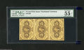 """Fractional Currency:First Issue, Fr. 1230 Vertical Strip of Three 5c First Issue PMG Net About Uncirculated 55. PMG comments on this vertical strip """"foreign ..."""