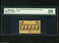 Fractional Currency:First Issue, Fr. 1281 25c First Issue PMG Choice About Unc 58. Corner tip folds are noticed on this encapsulated example....