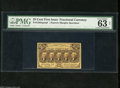 "Fractional Currency:First Issue, Fr. 1282SP 25c First Issue Narrow Margin Face Specimen PMG Net Choice Uncirculated 63. PMG notes that there is ""adhesive res..."