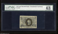 """Fractional Currency:Second Issue, Fr. 1244 10c Second Issue PMG Choice Uncirculated 63. Wide margins are found on this note that PMG comments """"pressed.""""..."""