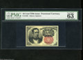 "Fractional Currency:Fifth Issue, Fr. 1265 10c Fifth Issue PMG Choice Uncirculated 63. Wide margins adorn this note. PMG comments, ""pinhole in lower left corn..."