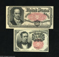 Fractional Currency:Fifth Issue, Fr. 1265 10c Fifth Issue Choice AU Fr. 1380 50c Fifth Issue ChoiceAU. Each note displays one soft fold. ... (2 notes)