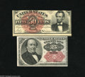 Fractional Currency:Fifth Issue, Fr. 1309 25c Fifth Issue XF-AU Fr. 1374 50c Fourth Issue LincolnXF. The Lincoln note in this lot is miscut on the fron... (2 notes)