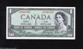 "Canadian Currency: , BC-29b $1 1954 Embossing and natural paper wave are observed onthis $1 with the ""Devil's Face"" hidden within Queen Elizabe..."