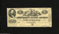 Confederate Notes:1862 Issues, T42 $2 1862. This note offers nice contrasts with several holespresent. Fine....