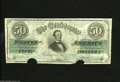 Confederate Notes:1862 Issues, T50 $50 1862. This pleasing note with its ornate back design has apair of half moon cancels at the bottom. Fine-Very Fine...