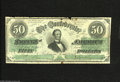 Confederate Notes:1862 Issues, T50 $50 1862. This scarce design type does not exhibit anycancellations, but is a little rough at the top margin. Very Go...