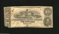 Confederate Notes:1862 Issues, T52 $10 1862. The lower left corner tip is dislodged and anapproximate one inch tear is noticed. Good....