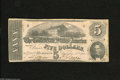 Confederate Notes:1862 Issues, T53 $5 1862. This uncancelled pleasing note offers great pink hues,but has a few holes throughout. Fine....
