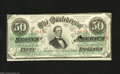 Confederate Notes:1863 Issues, T57 $50 1863. An issue date of January 1864 is found on this $50that has had a small portion of the cut cancel fall by the ...