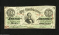 Confederate Notes:1863 Issues, T57 $50 1863. A corner tip nick is noticed on this embossed $50 that was issued in January 1864. About Uncirculated, CC....