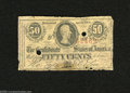 Confederate Notes:1863 Issues, T63 50 Cents 1863. It is unusual to see T63 cancelled. Good-VeryGood, PC....