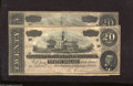 Confederate Notes:1864 Issues, T67 $20 1864 Two Examples. These notes which are crisp show the effects of improper holder storage. Very Fine-Extremely Fi... (2 notes)