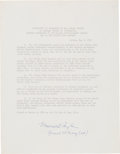 Autographs:Military Figures, Maxwell Taylor Souvenir Instrument of Surrender Signed...