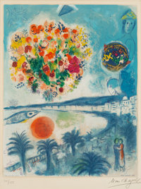 After Marc Chagall By Charles Sorlier Sunset, from Nice and the Côte D'Azur