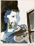 Photographs, After Pablo Picasso. Le peintre, 1963. Collotype with pochoir in colors on Arches paper. 29-3/4 x 23-1/2 inches (75.6 x ...