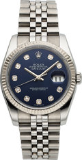 Timepieces:Wristwatch, Rolex Ref 116234 Steel Oyster Perpetual Datejust With Diamond Dial and White Gold Bezel, circa 2005. ...