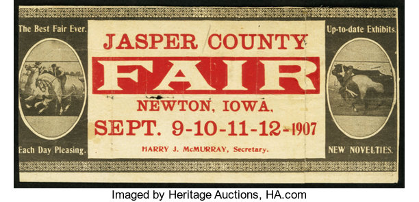 Newton, IA - Jasper County Fair Sept  9-12, 1907