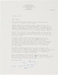 Autographs:U.S. Presidents, George H.W. Bush Typed Letter Signed with HolographicAnnotation....