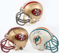 Autographs:Others, Hall of Fame Quarterbacks Signed Mini Helmet Lot of 3: Marino,Montana, Young.. ...