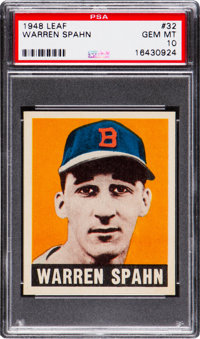 1948 Leaf Warren Spahn #32 PSA Gem Mint 10 - The Ultimate PSA Example, Pop One!