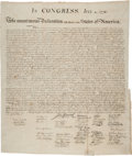 Miscellaneous:Broadside, William J. Stone for Peter Force: The Declaration ofIndependence....