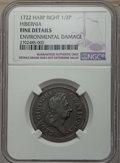 Colonials, 1722 1/2 P Hibernia Halfpenny, Type Two, Harp Right -- Environmental Damage -- Details NGC. Fine. NGC Census: (1/15). PCGS ...