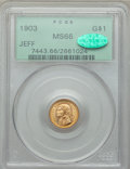 Commemorative Gold, 1903 G$1 Louisiana Purchase, Jefferson Gold Dollar MS66 PCGS.CAC....